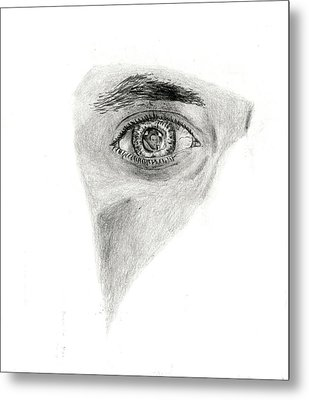Metal Print featuring the drawing Eye See My Self by Michael McKenzie
