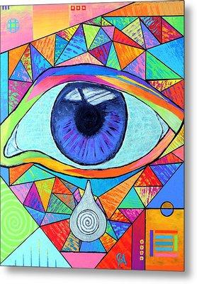 Eye With Silver Tear Metal Print