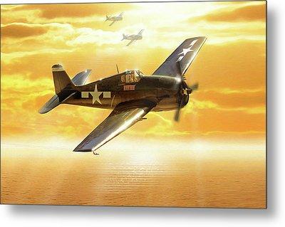 F-6f Hellcat Pacific Sunrise Metal Print