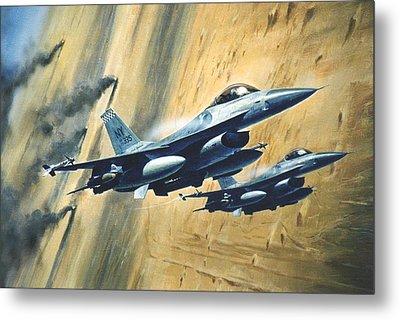 'f16 Desert Storm' Metal Print