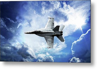 Metal Print featuring the photograph F18 Fighter Jet by Aaron Berg