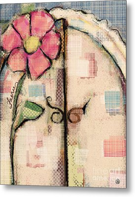 Metal Print featuring the mixed media Fabric Fairy Door by Carrie Joy Byrnes