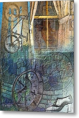 Face In The Window Embossed Montage Metal Print by Arline Wagner