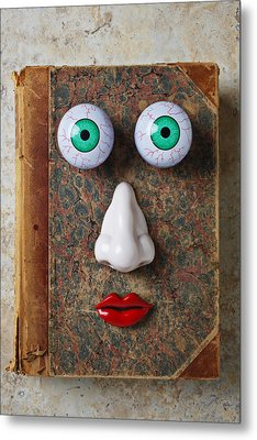 Facebook Old Book With Face Metal Print by Garry Gay