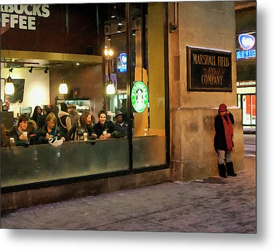 Metal Print featuring the digital art Faces At The Coffeehouse by Chris Flees