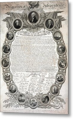 Facsimile Of The Original Draft Of The Declaration Of Independence 1776 Metal Print