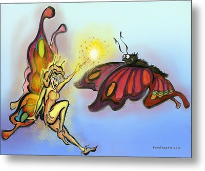Faerie N Butterfly Metal Print by Kevin Middleton