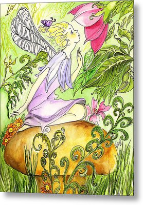 Metal Print featuring the painting Faery On A Mushroom by Nadine Dennis