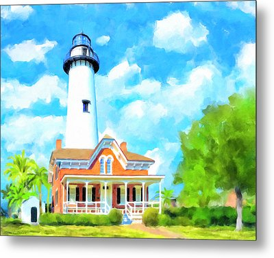 Metal Print featuring the painting Fair Weather On St Simons Island - Georgia Lighthouses by Mark Tisdale