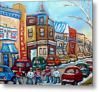 Fairmount Bagel And Hockey Metal Print by Carole Spandau