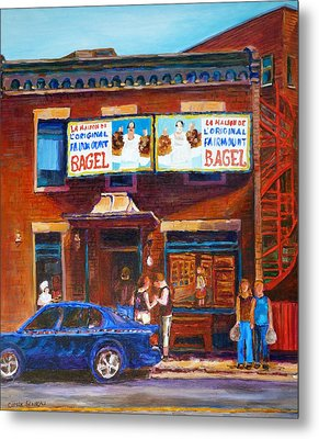Metal Print featuring the painting Fairmount Bagel With Blue Car  by Carole Spandau