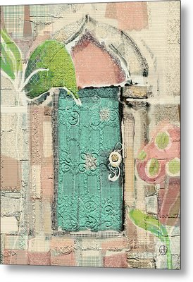 Metal Print featuring the mixed media Fairy Door by Carrie Joy Byrnes
