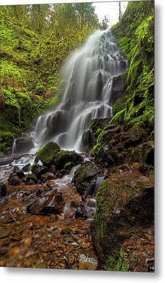 Fairy Falls In Columbia Gorge Metal Print by David Gn
