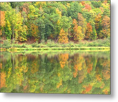 Fall Forest Reflection Metal Print by Joshua Bales