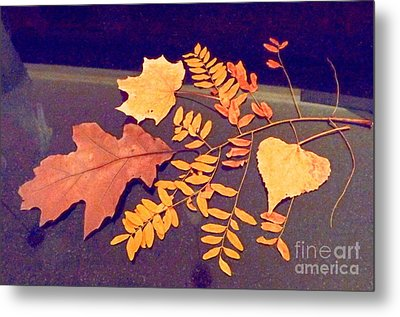 Fall Leaves On Granite Counter Metal Print by Annie Gibbons