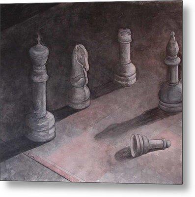 Fallen Chessman Metal Print by Sandy Clift