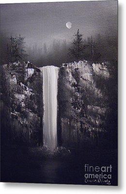 Falls By Moonlight Metal Print by Crispin  Delgado