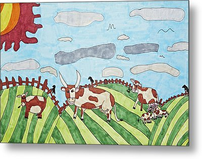 Family On Green Pastures Metal Print by Stephanie Ward