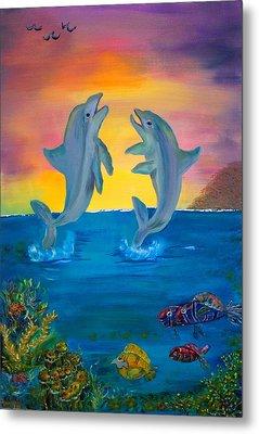 Fantasy Dolphins Metal Print by Mikki Alhart