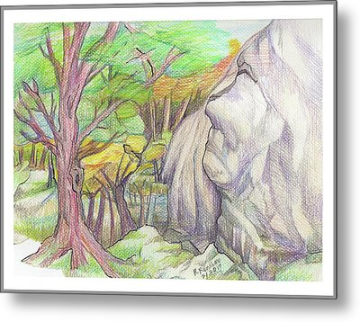 Fantasy Forest Rock Metal Print by Ruth Renshaw