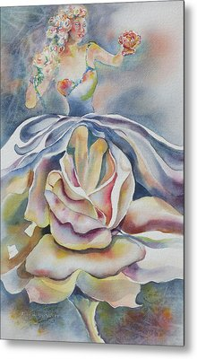 Metal Print featuring the painting Fantasy Rose by Mary Haley-Rocks