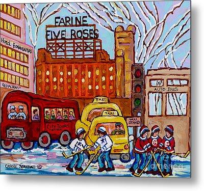 Farine Five Roses Montreal 375 Hometown Hockey Hotel Bonaventure Tour Bus Canadian Art C Spandau Art Metal Print by Carole Spandau