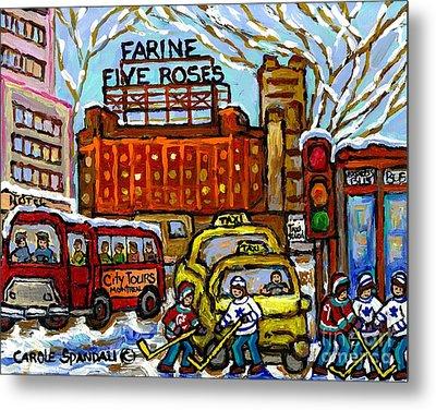 Farine Five Roses Sign Downtown Montreal Scenes Street Hockey Game Canadian Art Carole Spandau       Metal Print by Carole Spandau