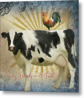 Metal Print featuring the painting Farm Fresh Barnyard Animals Cow Rooster Typography by Audrey Jeanne Roberts