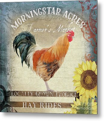 Farm Fresh Barnyard Rooster Morning Sunflower Rustic Metal Print
