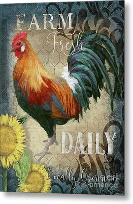 Metal Print featuring the painting Farm Fresh Daily Red Rooster Sunflower Farmhouse Chic by Audrey Jeanne Roberts