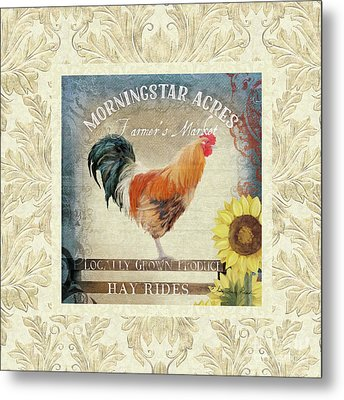 Metal Print featuring the painting Farm Fresh Damask Barnyard Rooster Sunflower Square by Audrey Jeanne Roberts