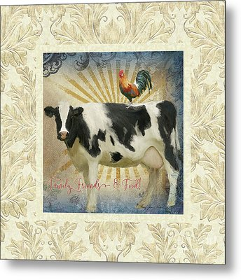 Metal Print featuring the painting Farm Fresh Damask Milk Cow Red Rooster Sunburst Family N Friends by Audrey Jeanne Roberts