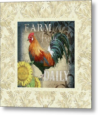 Metal Print featuring the painting Farm Fresh Damask Red Rooster Sunflower by Audrey Jeanne Roberts