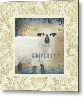 Metal Print featuring the painting Farm Fresh Damask Sheep Lamb Simplicity Square by Audrey Jeanne Roberts