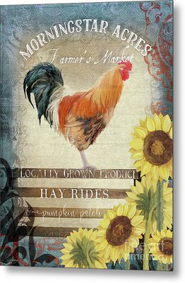 Metal Print featuring the painting Farm Fresh Morning Rooster Sunflowers Farmhouse Country Chic by Audrey Jeanne Roberts