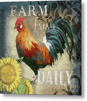 Metal Print featuring the painting Farm Fresh Red Rooster Sunflower Rustic Country by Audrey Jeanne Roberts