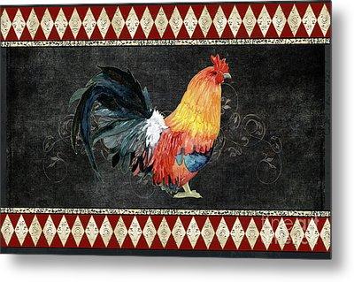 Farm Fresh Rooster 4 - On Chalkboard W Diamond Pattern Border Metal Print by Audrey Jeanne Roberts