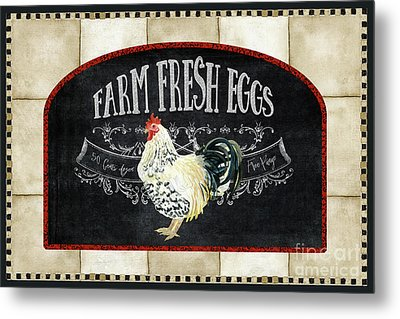 Farm Fresh Roosters 1 - Fresh Eggs Typography Metal Print by Audrey Jeanne Roberts