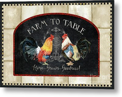 Farm Fresh Roosters 2 - Farm To Table Chalkboard Metal Print by Audrey Jeanne Roberts