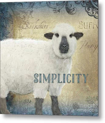 Metal Print featuring the painting Farm Fresh Sheep Lamb Simplicity Square by Audrey Jeanne Roberts