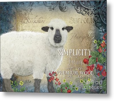 Metal Print featuring the painting Farm Fresh Sheep Lamb Wool Farmhouse Chic  by Audrey Jeanne Roberts
