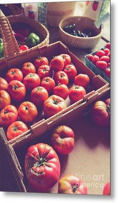 Farm Fresh Tomatoes At A Farm Stand Metal Print