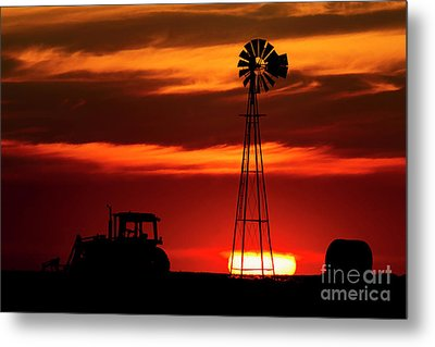 Metal Print featuring the photograph Farm Silhouettes by Brad Allen Fine Art