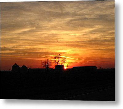 Farm Sunset Metal Print by Jack G  Brauer
