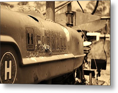 Farmall Logo In Sepia Metal Print