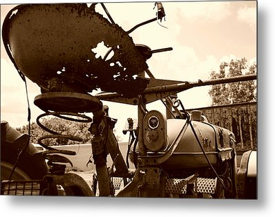 Farmall Seat In Sepia Metal Print