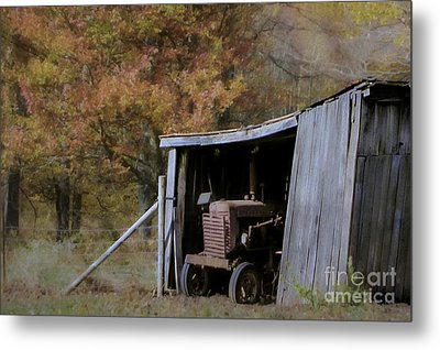 Metal Print featuring the photograph Farmall Tucked Away by Benanne Stiens