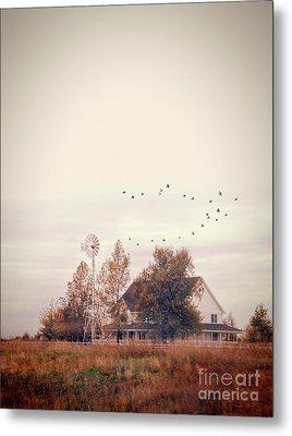 Metal Print featuring the photograph Farmhouse And Windmill by Jill Battaglia
