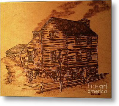 Metal Print featuring the pyrography Farmhouse by Denise Tomasura