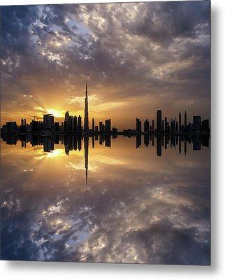 Fascinating Reflection In Business Bay District During Dramatic Sunset. Dubai, United Arab Emirates. Metal Print